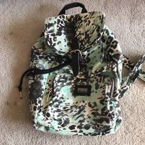 Victoria's Secret blue leopard mini backpack